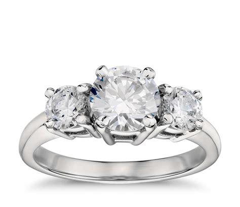 classic three stone diamond engagement ring in platinum blue nile