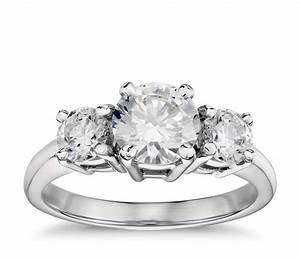 classic three stone diamond engagement ring in platinum With three diamond wedding rings