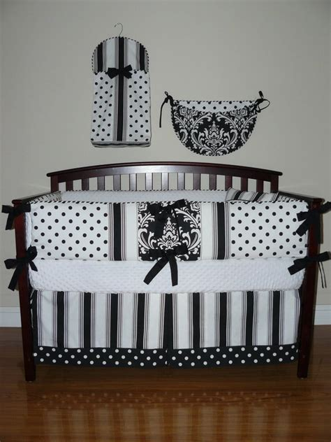 black crib sets custom crib baby bedding 5pc set black and white polka