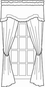Window Coloring Line Drawing Portfolio Curtains Door Curtain Template Sketch Deviantart sketch template