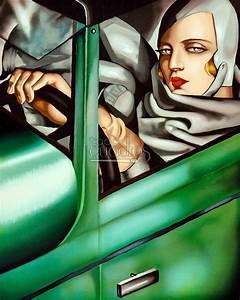 """Cuadro """"Autorretrato en el Bugatti verde"""" de Tamara de Lempicka"""