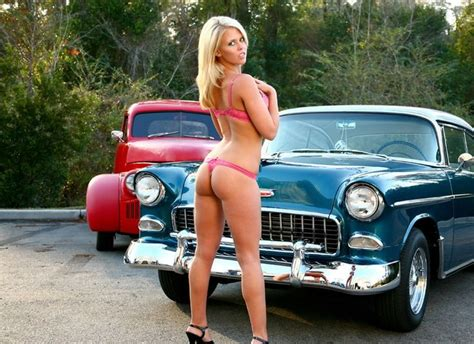 hot models with cars sexy classic car model drove my chevy to the levy