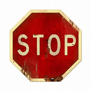 Retro, Stop, Sign, Metal, Sign, 28, X, 28, Inches