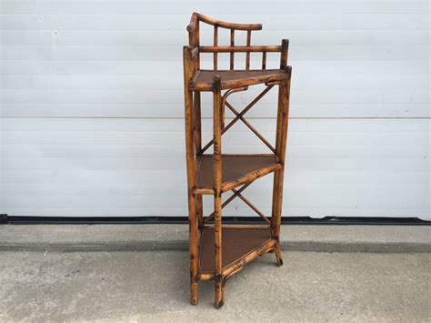 Three-tiered Corner Etagere With Scorched Bamboo Frame And