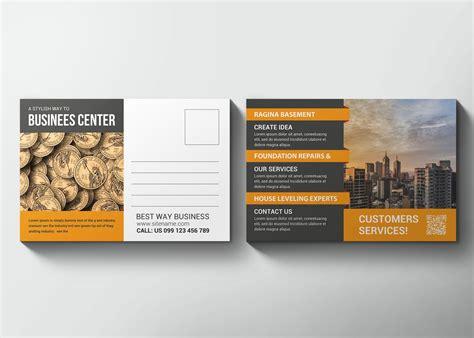 technology business postcard design template effects