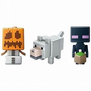 Minecraft Mini Figure 3 Pack Grass Series Wolf, Enderman ...