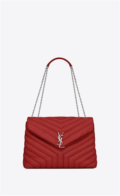 saint laurent medium loulou chain bag  lipstick red  matelasse leather yslcom