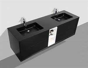 meuble de salle de bain flora 1900 noir mat avec niche With meuble salle de bain noir mat