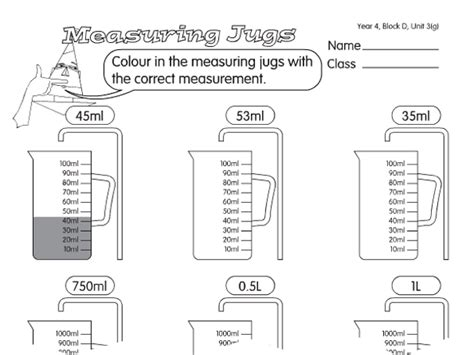 measuring jug a year 4 capacity worksheet
