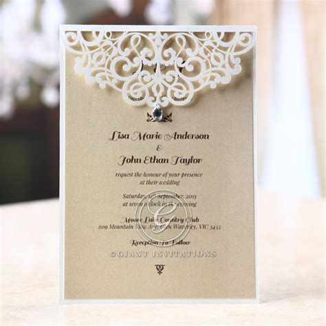 laser cut wedding invitations jeweled laser cut modern wedding invitations