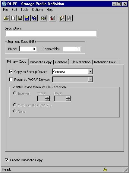 Using The Storage Profile Definition Editor