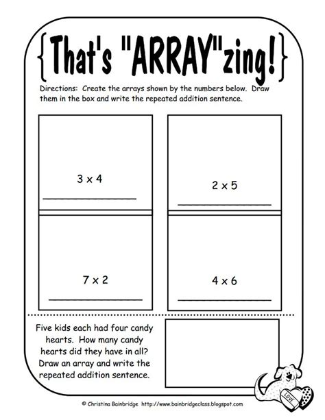 multiplication arrays grade 3 worksheets printable