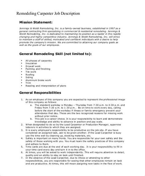 sample carpenter job description  examples  word