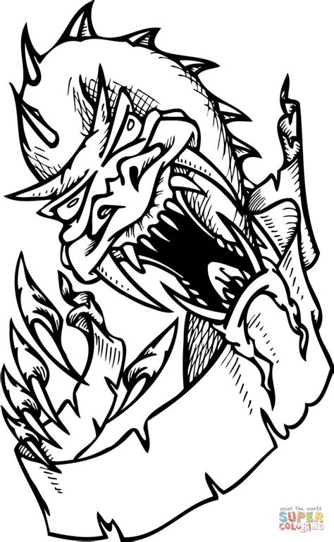 Kleurplaat Enge Monsters by Scary Coloring Page Free Printable Coloring Pages