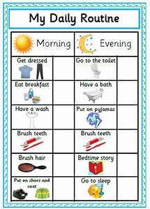 Printable Daily Routine Chart Blue Reward Chart Morning Etsy
