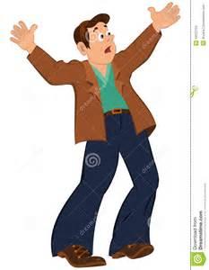 Cartoon Man with Hands Up