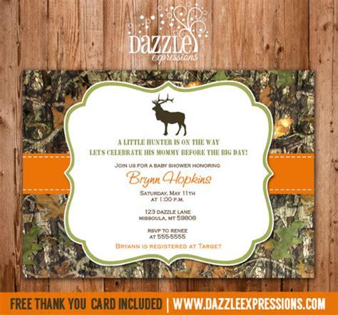 mossy oak hunting baby shower invitation camo elk