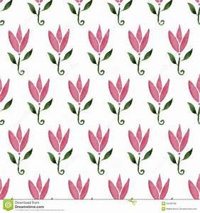 Pink Watercolor Cartoon Flower Tulip Hand Drawn Seamless