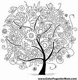 Coloring Tree Pages Adult Colouring Colorpagesformom Abstract Adults Printable Mandala Flowers Sheets Forest Therapy Flower Heart sketch template