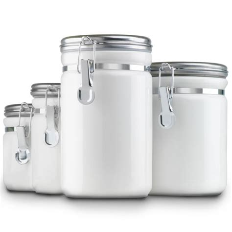 Ceramic Kitchen Canisters  White (set Of 4) In Kitchen