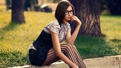 Brunette Glasses Outdoors Wallpapers Desktop Leggings Striped