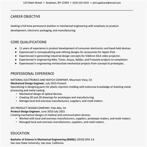 Mechanical Resume Objective by Sle Resume For A Mechanical Engineer
