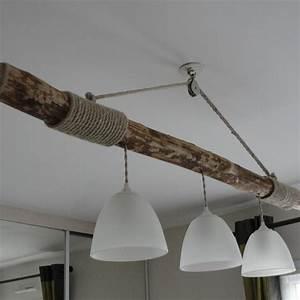 Lustre En Bois Flotté : lustre suspendu en bois flotte trois lampes un grand march ~ Dailycaller-alerts.com Idées de Décoration