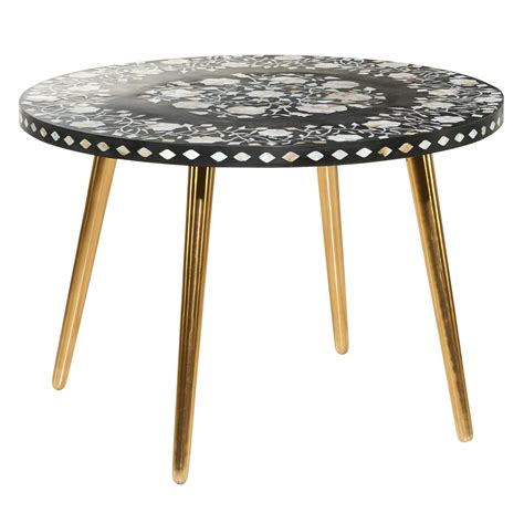 Distinct coffee tables you could buy: Decmode Round Black Wood Top Coffee Table With Shell Floral Patterned Mosaic Inlay And Gold ...