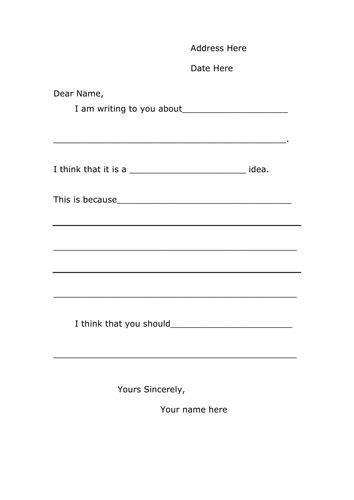 letter template  persuasive writing  lia teaching