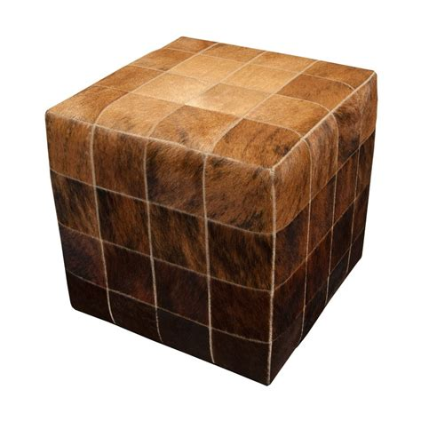 Cowhide Cube Ottoman by Cowhide Cube Pouf Ottoman Mosaic Beige Brown Fur Home