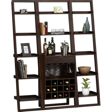 Crate And Barrel Leaning Desk Espresso by Sloane Java Leaning Wine Bar With Two 18 Quot Bookcases In