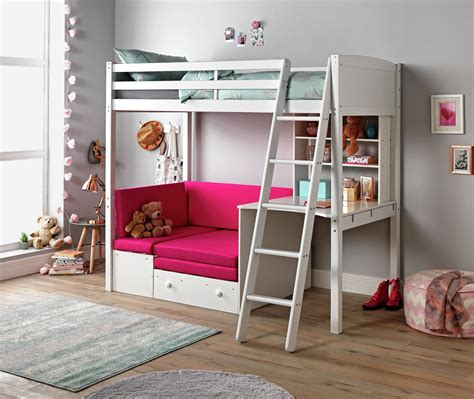 Classic High Sleeper With Sofa Bed by Classic High Sleeper With Sofa Bed Elliott Mattress White