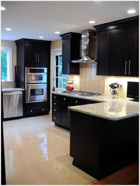 espresso cabinets  granite  kitchen renovation
