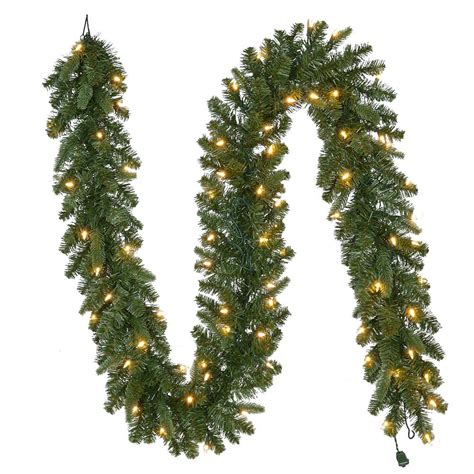 home accents sierra nevada fir tree 75 home accents 9 ft pre lit led nevada garland with warm white lights gt90p3a38l08
