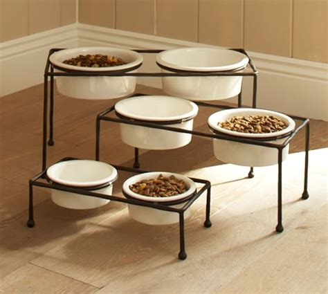 elevated cat food table paw print pet food bowl stand pottery barn