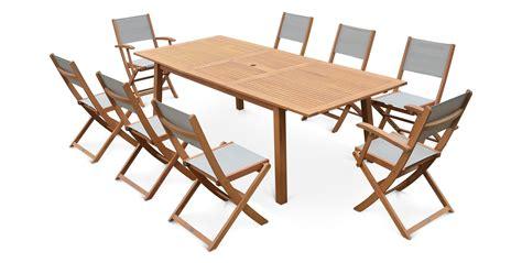 table et chaise de jardin en bois salon de jardin 8 places table extensible bois