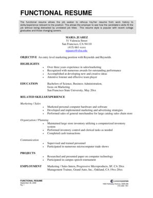 Employment Resume Template by Functional Resume Template Forms Fillable Printable