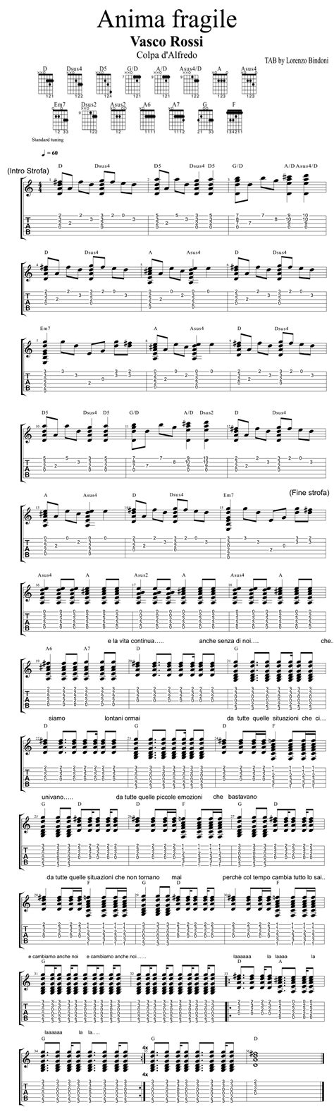 Canzone Vasco Tab by Tab Completa Versione Originale Anima Fragile Vasco