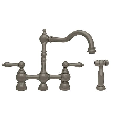 bridge kitchen faucet with side spray water creation 2 handle bridge kitchen faucet with side sprayer in brushed nickel f5 0010 02 ax
