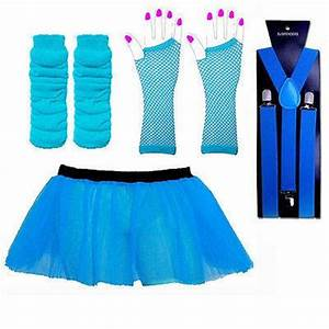 NEON TUTU SKIRT SET & BRACES FANCY DRESS TUTU UV HEN