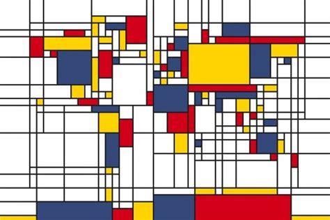 Photowall / Piet Mondrian Style World Map (e22704)