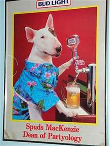 Spuds MacKenzie with Bud Light Beer | Ad Characters ...