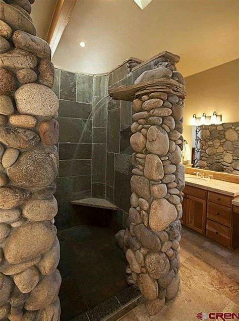 river rock bathroom rustic master bathroom rustic