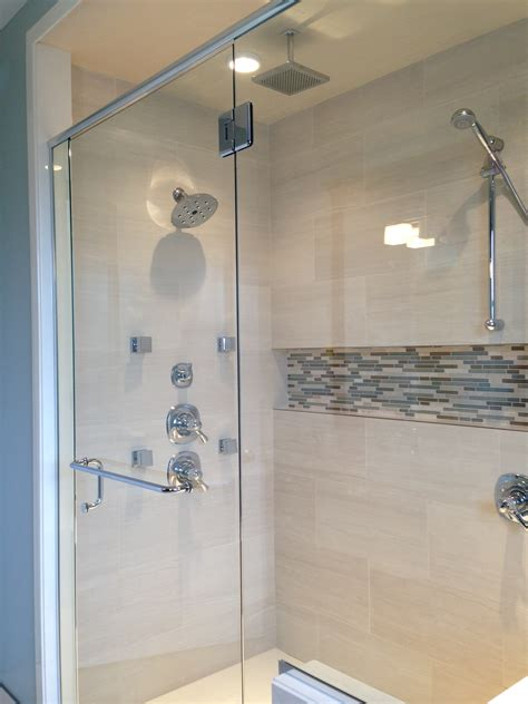 bathroom shower wall ideas grey mosaic ceramic tile horizontal shower niche with