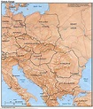 Eastern Europe physical map 1984 - Full size