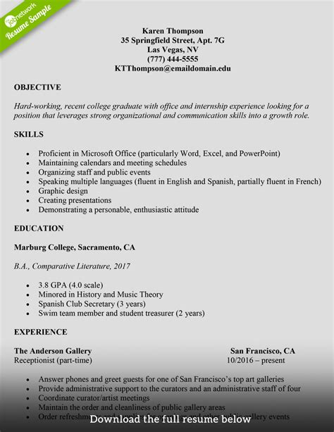 write  college student resume  examples
