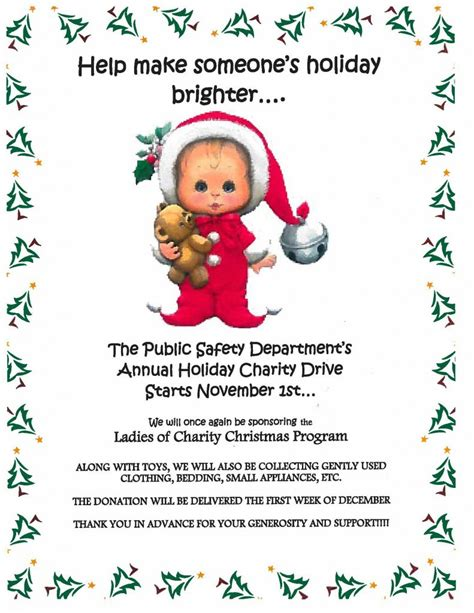 christmas gift drive for ladies of charity the dome