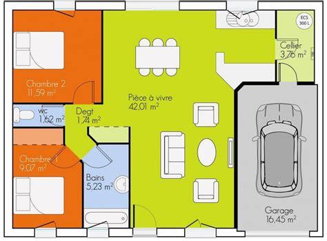maison 2 chambres plan maison 100m2 plein pied 3 chambres pin plan de