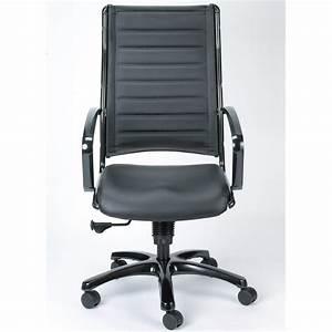 Modern, Europa, Metallic, Leather, High, Back, Swivel, Chair, Black, Leather