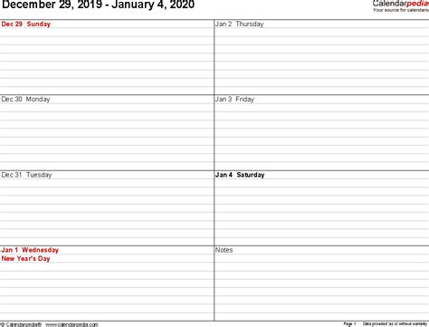 weekly calendar printable templates